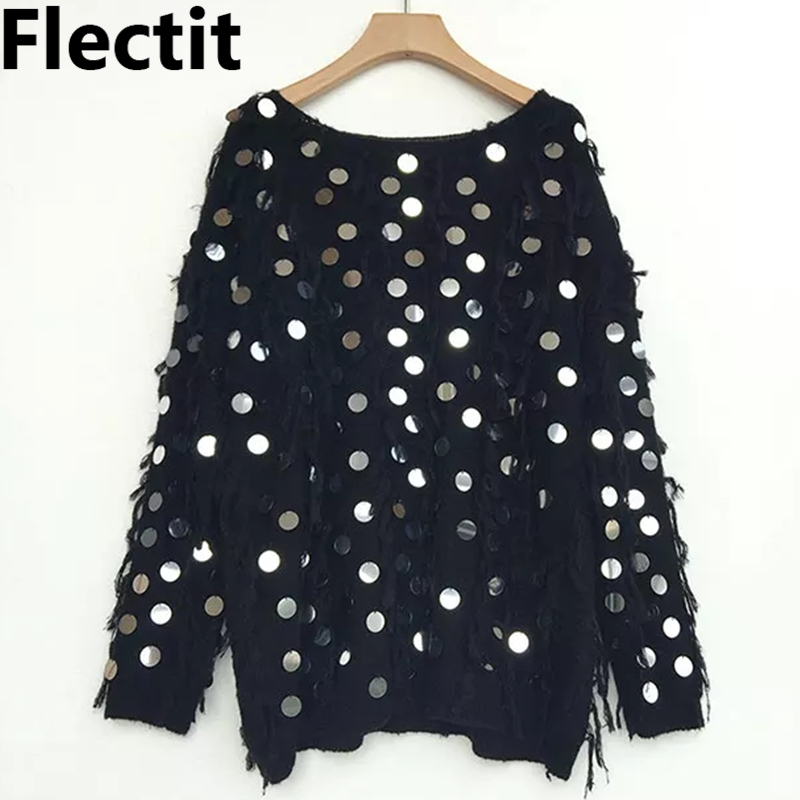 Flectit Women Metallic Sequin Fringe Sweater Black White Sequined Pullover Oversized Long Jumper Autumn Winter Tops *