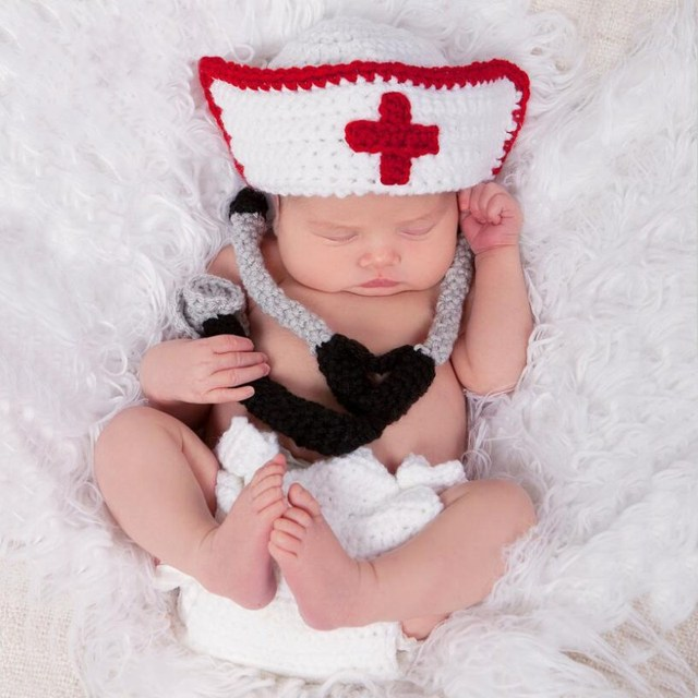 Cute baby nurse clothing sets for newborn photography props soft cotton infant toddler nurse cosplay costume