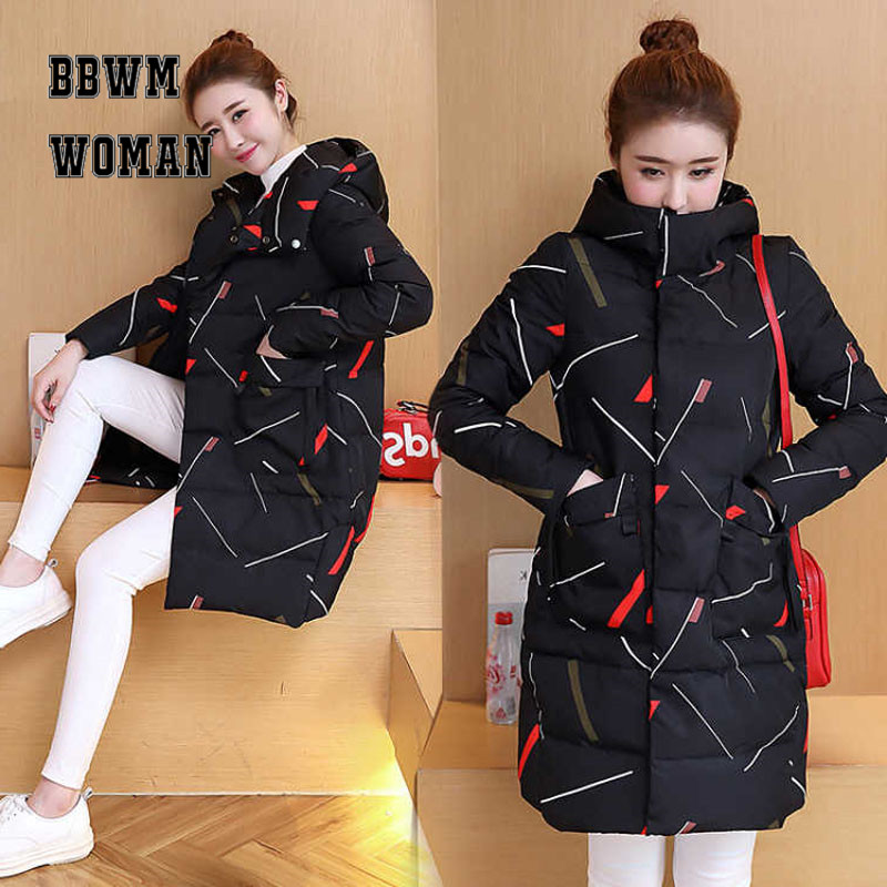 Women   Parkas   2018 Winter Long Hooded Padded Coat Long Sleeve Warm Pocket Geometric Printed Female Jacket ZO1774