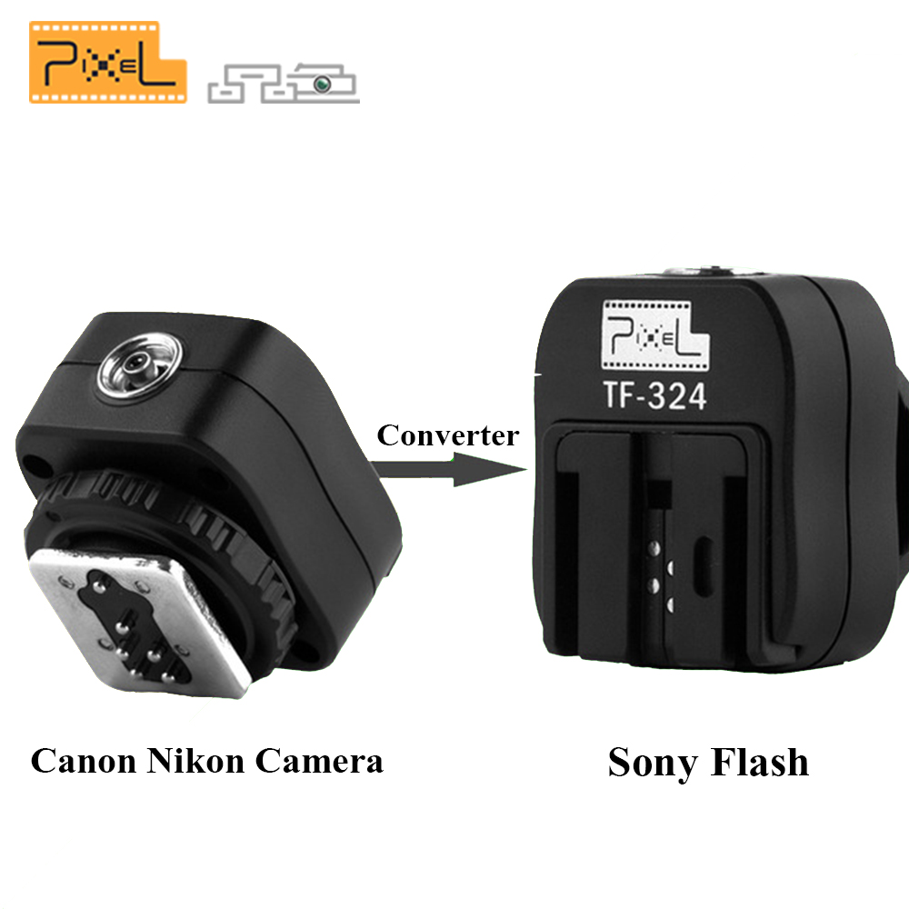 PIXEL TF-324 Hot Shoe Adapter Converter For Canon Nikon Pentax Panasonic Camera to Sony HVL-F58AM HVL-F56AM MINOLTA Speedlite sony sony hvl f45rm flash