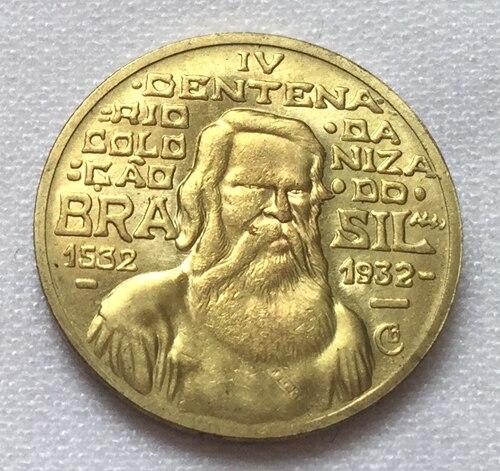 1932 Бразилия 500 Reis Монеты Скопируйте Бесплатная доставка