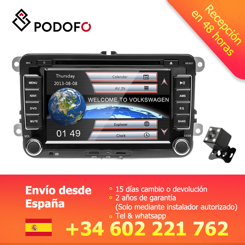 Autoradio Podofo 2din lecteur DVD 7 ''Autoradio multimédia GPS pour Golf Volkswagen MattwayT6 Beetle Scirocco Sharan Kaluwei Kadi