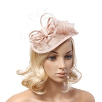 Feather Accent Headband Fascinator White Pink Black