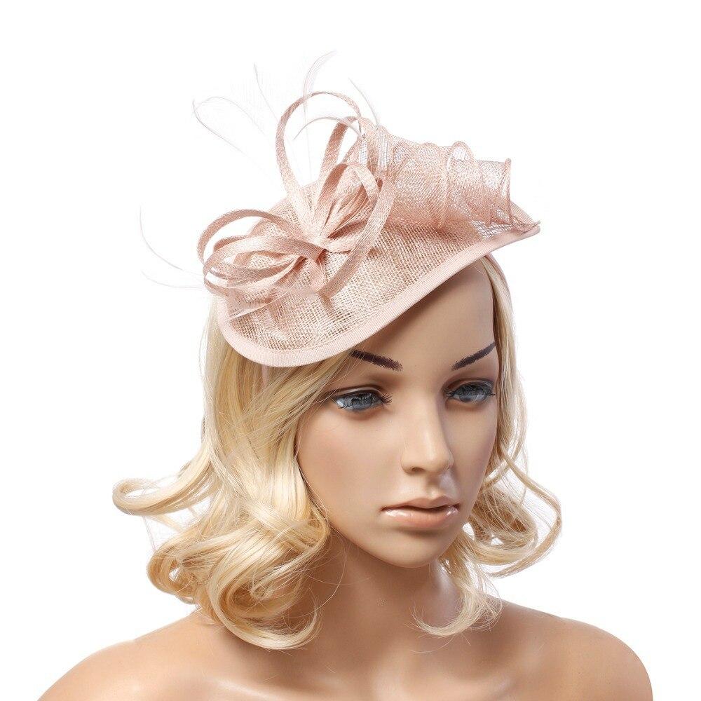 new lady black flower feather fascinator sinamay hats women wedding