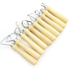 Carving Clay Sculpting Hand Chisel Modeling Making Tool,Stainless Steel and Wood Round Pottery Hole Cutters Ceramic Tool Set Kit