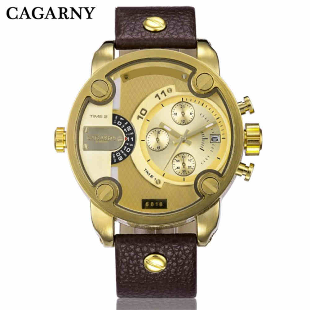 CAGARNY Men Quartz Clock Watches Fashion Man Luxury Watch Sport Gold Military Dual Time Zone Display Calendar Watch Montre Femme luxury men watch leather wrist watch for man three time zone watches military clock male sport big quartz watch montre homme