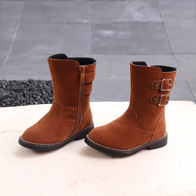e2e6d0d57442a Kids Boots Autumn Winter Soft Sole Solid Color Baby Girls Boots Leather  Side Zipper Fur Lined 2018 Children Winter Shoes 21-30