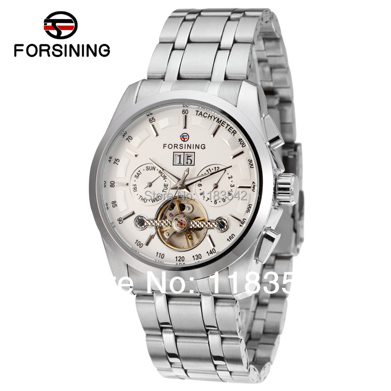 Forsining new Automatic men  fashion tourbillon silver watch with stainless steel band shipping  free forsining fsg6625m3r2 new automatic fashion dress men watch tourbillon rose gold wristwatch for men best gift free shipping