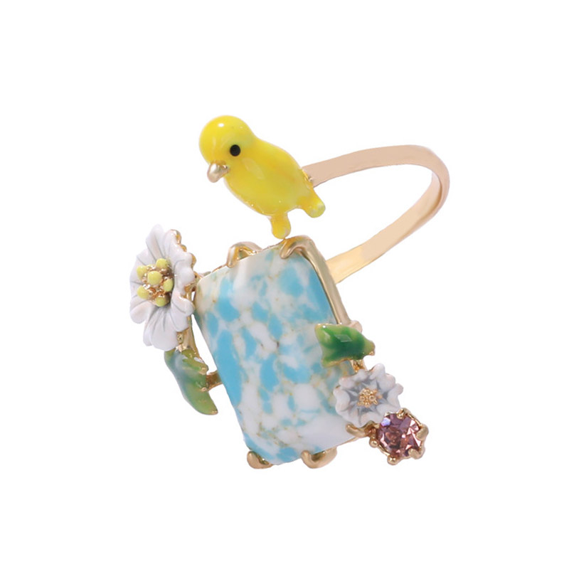 Unique bird stone adjustable rings for women enamel yellow bird flower gem opening ring fashion party jewelry new