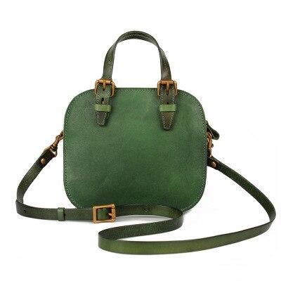 Femmes mignon en cuir véritable petit fourre-tout sac à main femme nouveauté vintage un sac à bandoulière été vert marron messenger sac à bandoulière