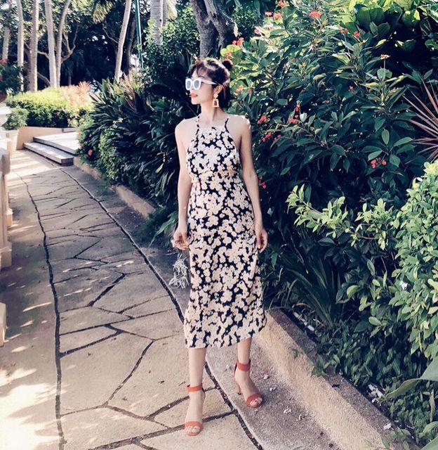 01c87694a9af 100% Silk Crepe The Jeet Flower Power Backless midi dress Spaghetti strap  slash neck women summer dress