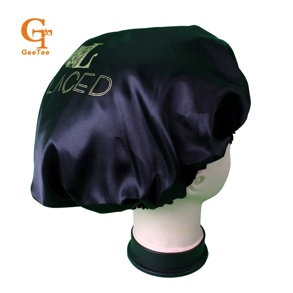 custom shop name silk satin bonnet,luxury customized brand double layer Virgin hair extensions/Hair wigs sleep satin silk bonnet