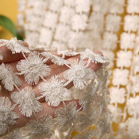 1yard delicate lace fabric with 3d daisy flowers, eyelet lace fabric for haute couture
