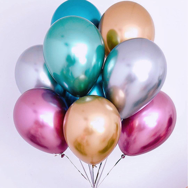 50pcs 12inch NEW Metallic Latex Balloons Thick Pearly Metal Chrome Alloy Colors Photograph Wedding Party Decoration Balloons