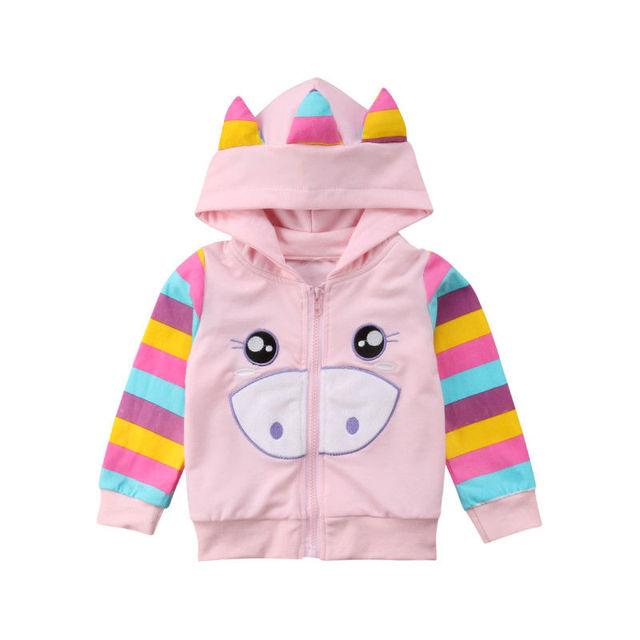 762808c19 2018 New Fashion Cute Long Sleeve Cute Stripes Newborn Toddler Kids Baby  Girl Cartoon Hooded Top Thin Coat Outerwear
