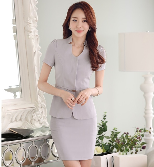 Formal Work Suits Jackets And Skirt Novelty Grey Professional Business Short Sleeve 2016 Summer Blazers Outfits Female Uniforms