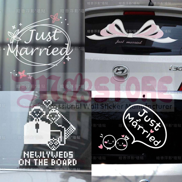 Just Married Wedding Wall Sticker Car Decoration Window Glass Sticker Home Decor Happy Love Marriage Bowknot Lovers Wife Husband