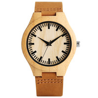 Classical Nature Hand Made Wood Watch With Genuine Leather Band Light Bamboo Wristwatch For Men Women
