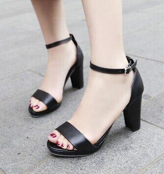 Tamaño Tendencia Hebilla Primavera Nueva 2016 apricot rojo Impermeable Sandalias Negro Palabra La Señora Moda 31 Conjunto Con Código Gruesas 43 w46wt