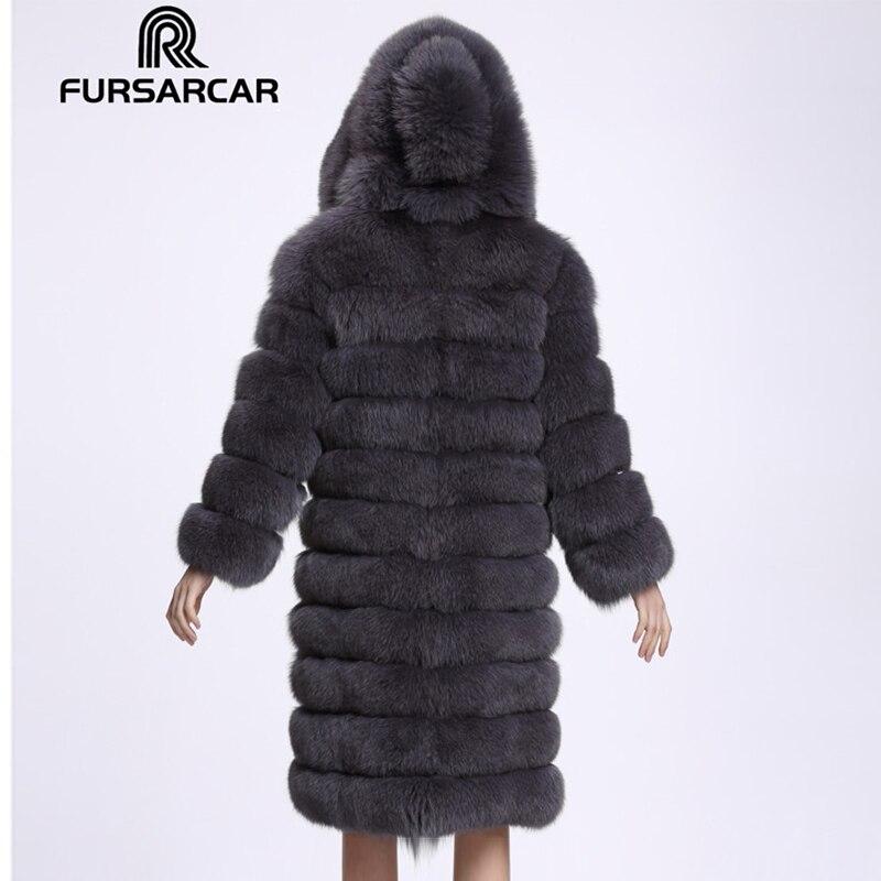 De Couleurs Avec darkgrey longue Fourrure Femmes Sable Manteau black Capot X Pelt 4 Veste Pleine C127 Manches Hiver Fursarcar natural Renard Véritable Z1xgt0