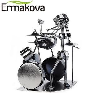Image 5 - ERMAKOVA Metal Musician Drum Player Statue Drummer&Drum Set Sculpture Figurine Ornament Cafe Counter Office Book Shelf Decor