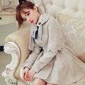 2016 winter new women/girls two piece set cloak wool beige&pink cape blends twinset Japan vintage fashion plaid woolen outerwear