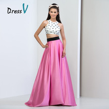 Dressv Charming White And Hot Pink Two Piece Prom Dresses 2016 A-Line Satin Beaded Rhinestone Plus Size Evening Gowns prom dress