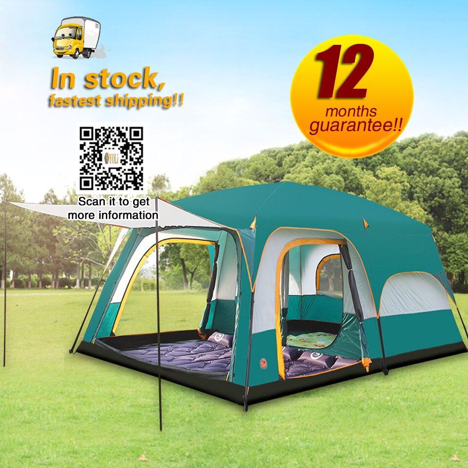 2 pièces 1 hall 8-10 personnes super grande double couche imperméable à la pluie en plein air famille camping tente Camping et randonnée tentes