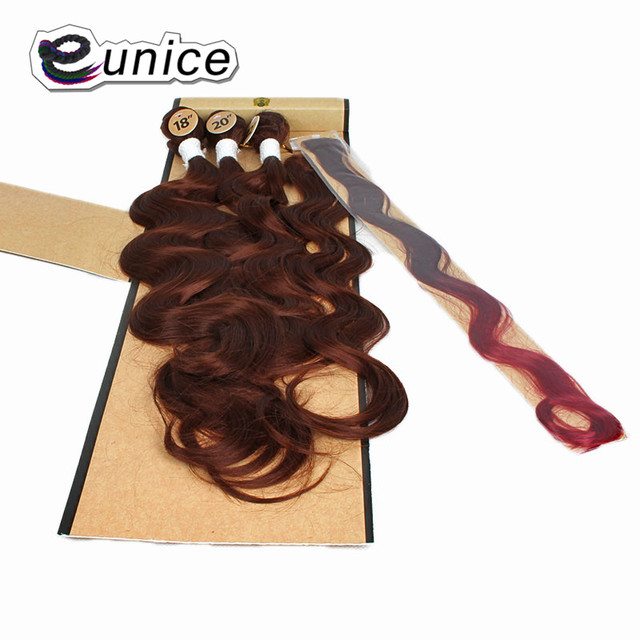 Synthetic Hair Weft Body Wave Bundles With Closure Mixed Length 16