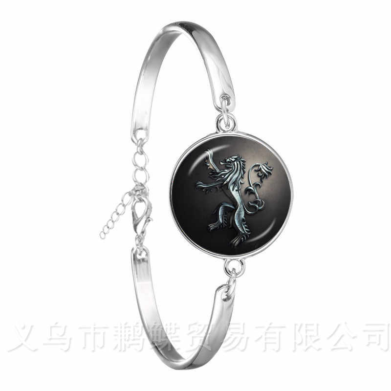Silver Plated Bracelets Game Of Thrones Glass Cabochon Chain Bangle Stark Wolf House Infinite Head Jewelry Best Gifts