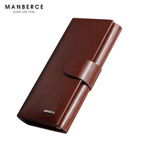MANBERCE Men Wallets Brand Mens Wallet Leather Genuine Men's Purse Clutch Bags High Quality Cowhide Credit Card Holder