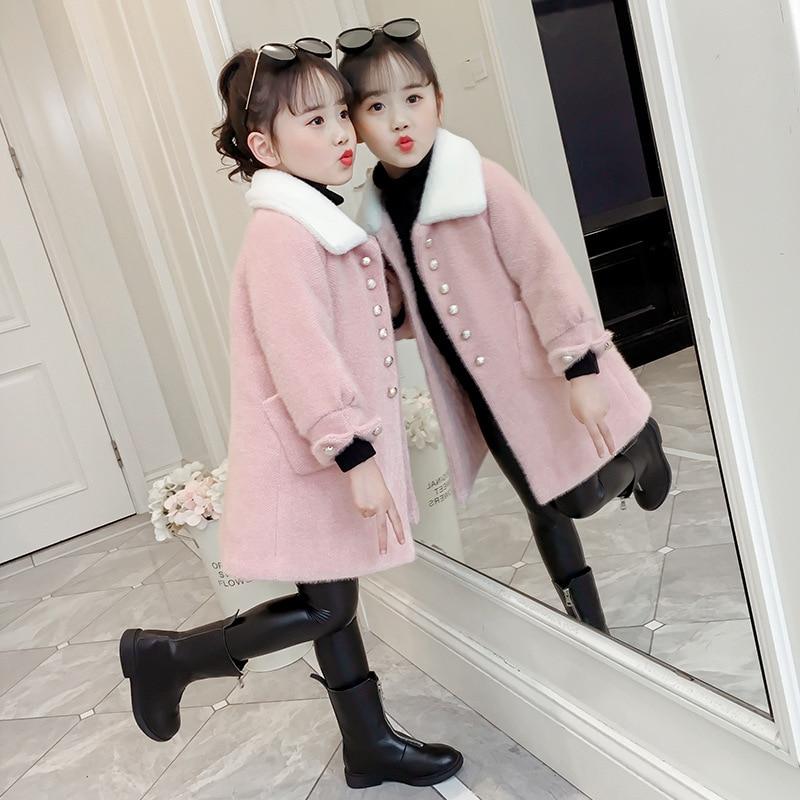 Girls Winter Jacket 2019 Fashion Kids Thickened Warm Long Woolen Coat For Girl 3 5 7 9 11 13 Outerwear Coat Clj154