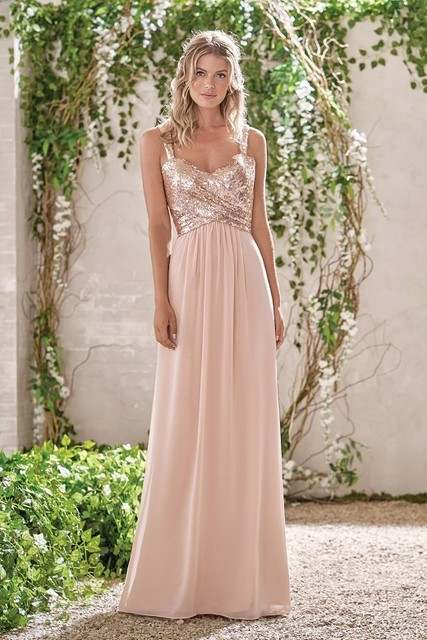 2016 Rose Gold Bridesmaid Dress A Line Spaghetti Straps Backless Sequins Chiffon Wedding Party Dresses Maid of Honor Custom Made