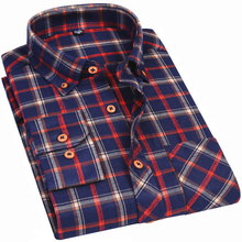 Men Flannel Plaid Shirt Collar Buckle Design Spring Autumn Casual Long Sleeve Shirt Soft Comfort Slim Fit Styles Man Clothes