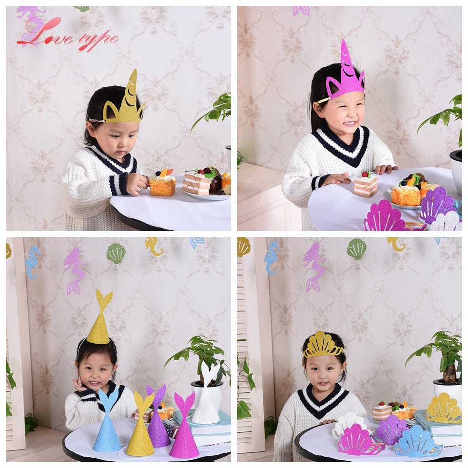 5PCS DIY Unicorn Party Hats Creative Paper Hats Kids Favors Theme ...