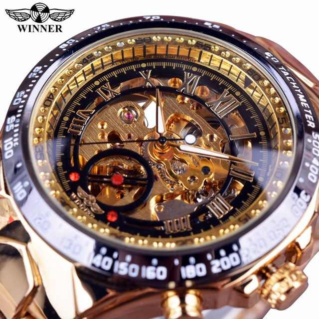 WINNER men's luxury automatic mechanical hollow watch business  steel belt watch