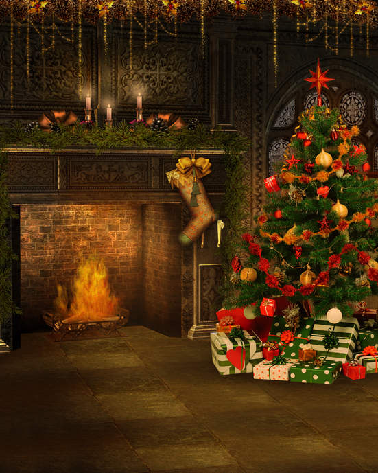 5x7ft Living Room Christmas Tree Gifts Fireplace Photography Photo Studio Props Backdrop Vinyl Fotografia Backgrounds decorations tree fireplace light room scene photo backdrop high quality vinyl cloth computer printed christmas backgrounds