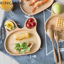 Деревянная бамбуковая детская посуда тарелка для завтрака с