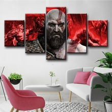 5 Piece God Of War Kratos Game Canvas Poster And Prints Modern Decorative Oil Painting Pictures Fantasy Wall Art For Home Decor