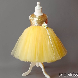 Image 3 - Floor length yellow tulle flower girl dress golden sequin top ball gown tutu open back baby toddler pageant birthday party dress