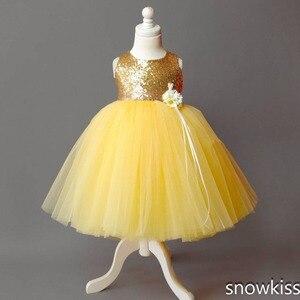 Image 3 - Tầng chiều dài vải tuyn màu vàng hoa cô gái ăn mặc vàng sequin top bóng gown tutu mở lại bé toddler pageant sinh nhật đảng ăn mặc