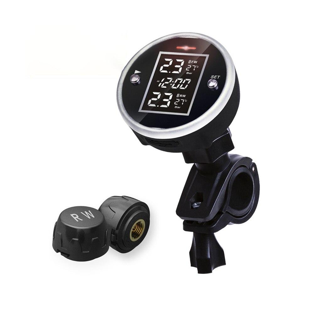 Bezprzewodowy system monitorowania ciśnienia w oponach motocyklowych z wyświetlaczem czasu wodoodporny 2 czujniki zewnętrzne motocykl TPMS Monitor DC 5V