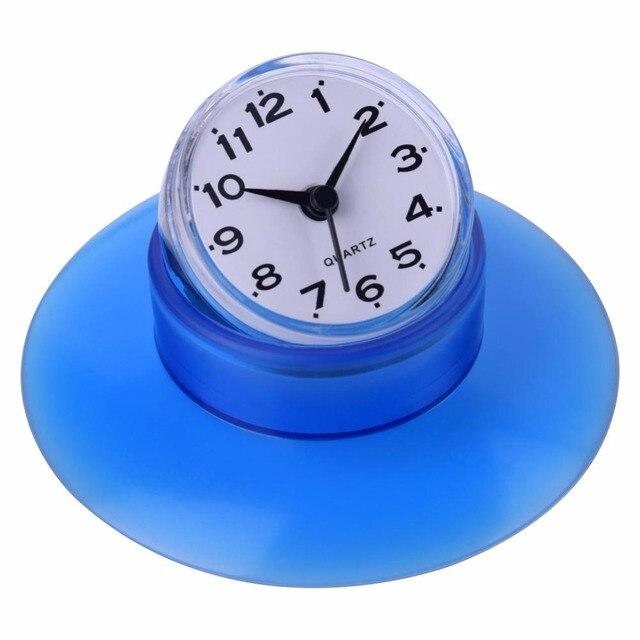 Do montażu na ścianie łazienki zegar wodoodporny Mini zegarek akcesoria łazienkowe produkty lustro zegar ścienny ssania prysznic zegary kwarcowe