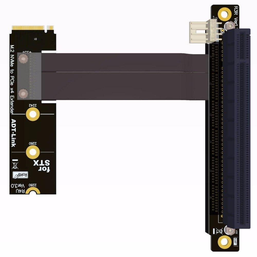 M.2 NVMe M clé à PCIe x4 x16 adaptateur d'extension 90 degrés coudé pour l'extension de carte graphique STX carte mère