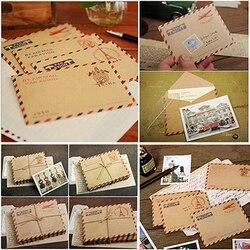 50 pcs/set Mini Retro Vintage Kraft Paper Envelopes Cute Cartoon Kawaii Paper Korean Stationery Gift 9.6x7.3cm