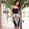 Mujeres Elegantes de la Ilusión Óptica Colorblock Contraste Modest Vaina Partido Vestido Lápiz Trabajo Delgado Casual de Negocios 8813