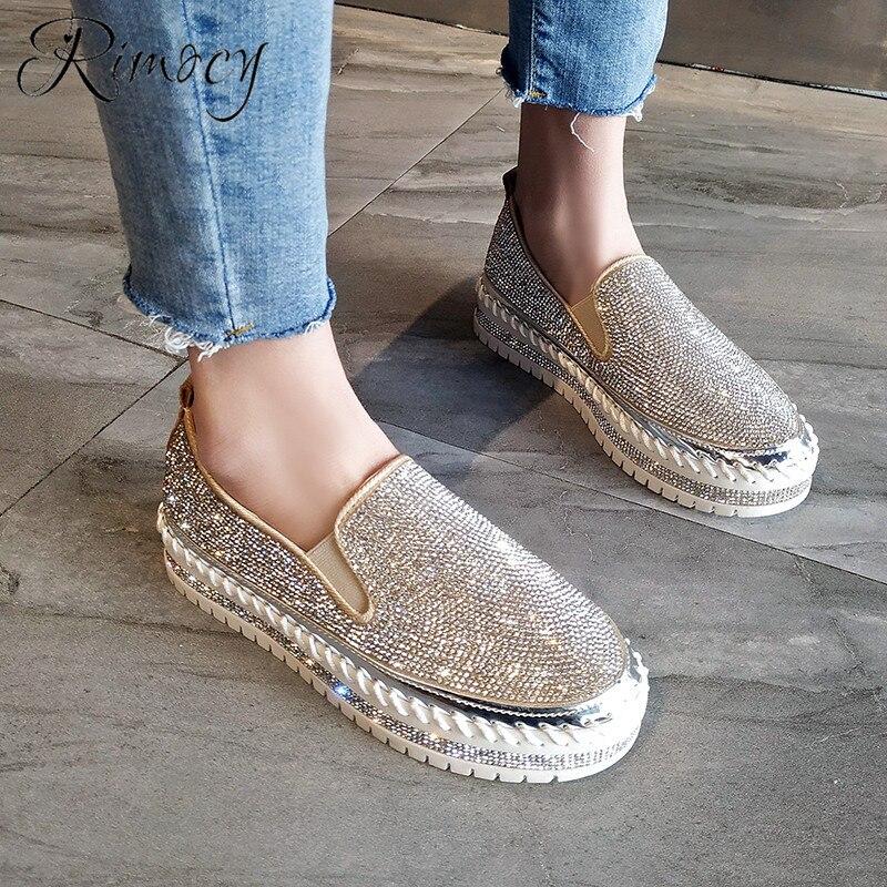 € 17.35 34% de DESCUENTO|Zapatos de plataforma plana de Rimocy para mujer slip on mocasines mujer 2019 primavera moda cristal casual pisos mujeres