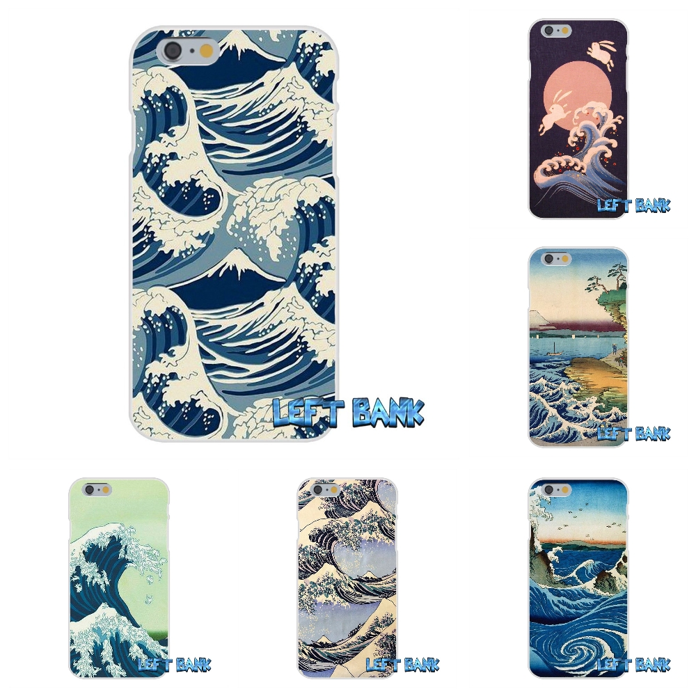 Full Great Wave off Kanagawa Japan Tidal Water Soft Silicone TPU Transparent Cover Case For iPhone 4 4S 5 5S 5C SE 6 6S 7 Plus