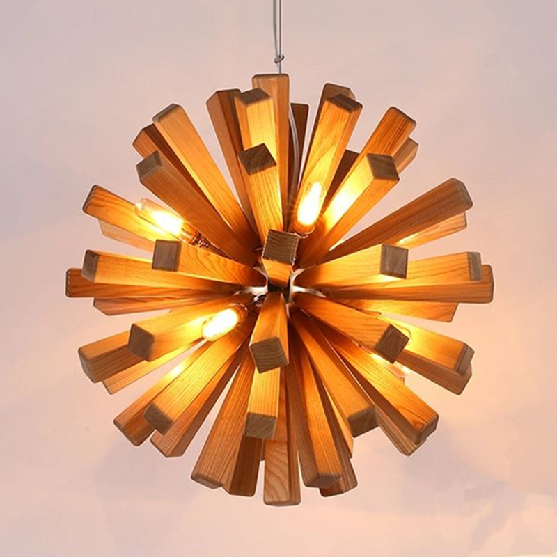 Wood Lighting Fixtures: Led Firework Explosion Wood Pendant Light Fixtures Rustic
