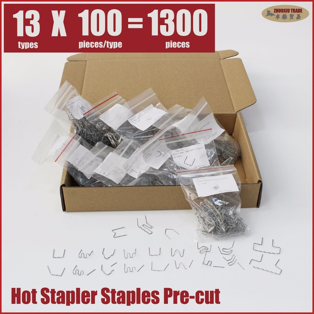 pre cut hot stapler replacement staples wave squiggle flat U pattern double inside corner outside corner slot W V M S plastic 600 precut hot stapler replacement staples st 600pc